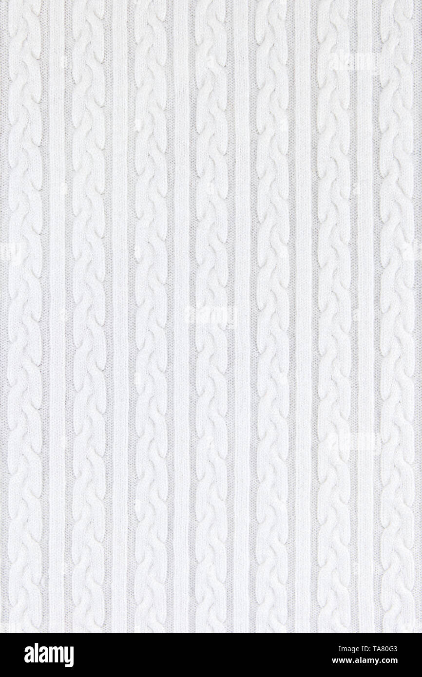 Knitwear Fabric Texture with Pigtails and stripes. Repeating Machine Knitting Texture of Sweater. White Knitted Background. - Stock Image