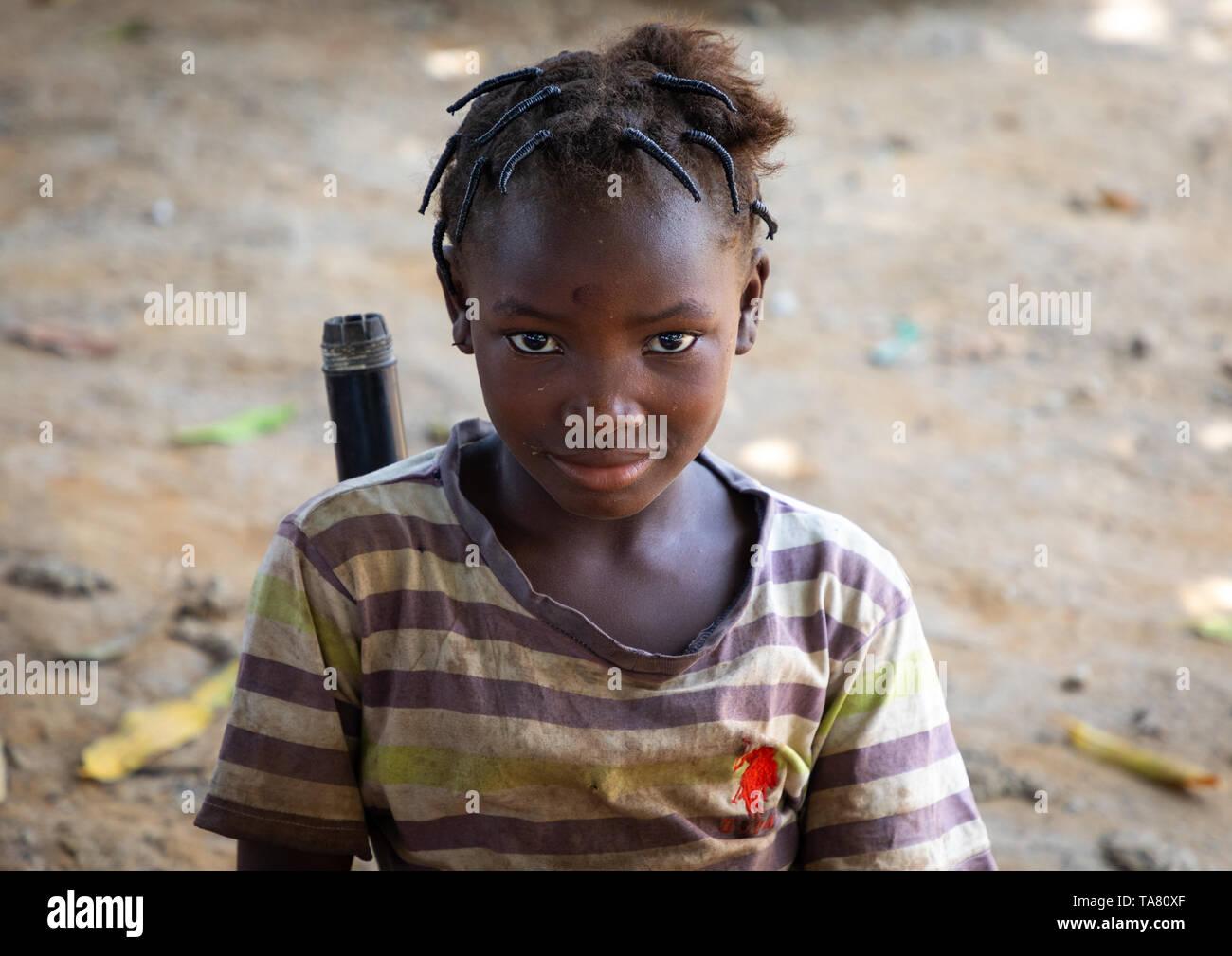 Portrait of an african girl, Savanes district, Tcheregnimin, Ivory Coast Stock Photo