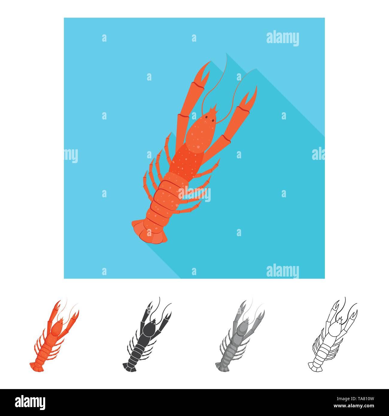 Vector illustration of fresh  and restaurant symbol. Collection of fresh  and marine   vector icon for stock. - Stock Image