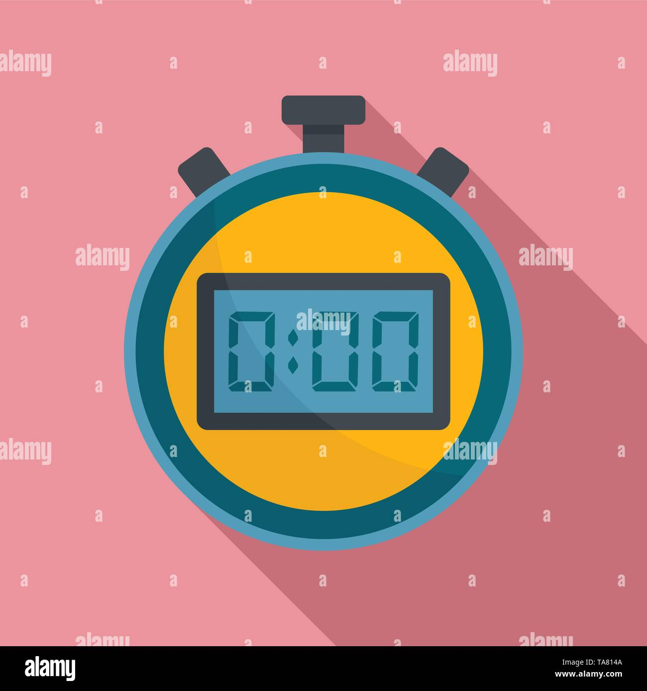 Sport stopwatch icon. Flat illustration of sport stopwatch vector icon for web design - Stock Image