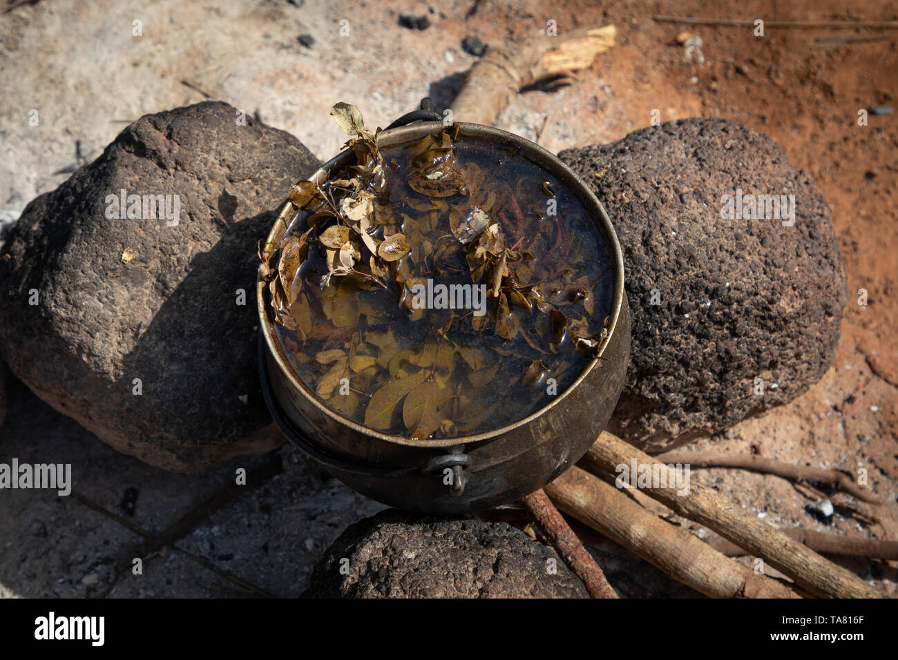 Fireplace for the cooking, Savanes district, Niofoin, Ivory Coast Stock Photo