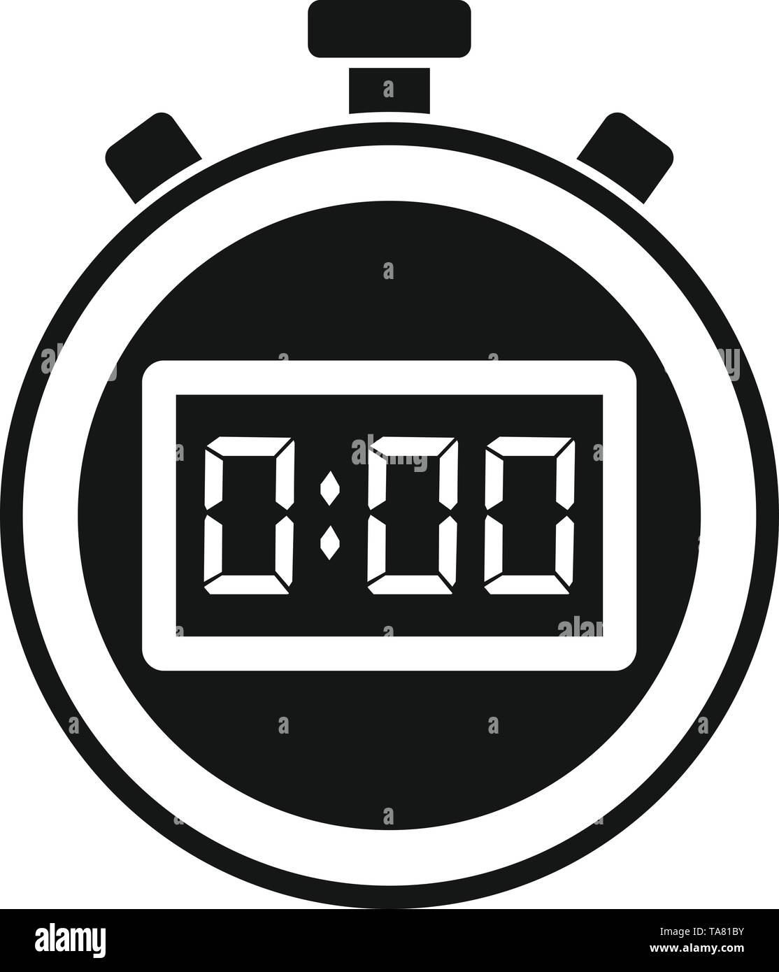Sport stopwatch icon. Simple illustration of sport stopwatch vector icon for web design isolated on white background - Stock Image