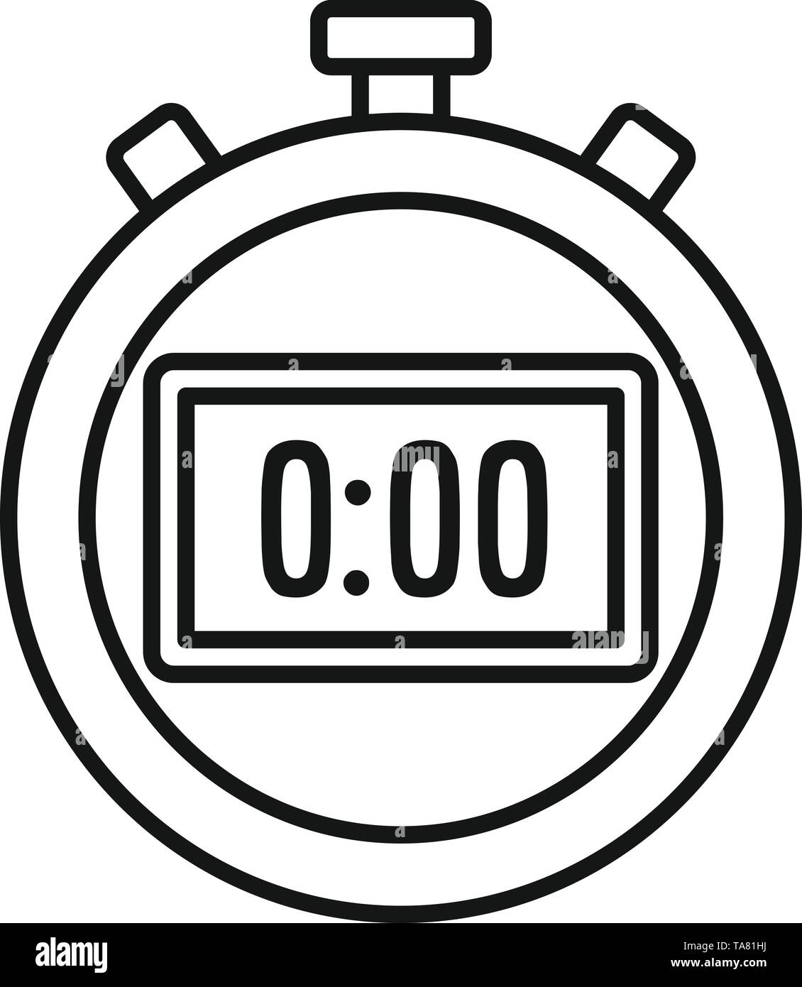 Sport stopwatch icon. Outline sport stopwatch vector icon for web design isolated on white background - Stock Image