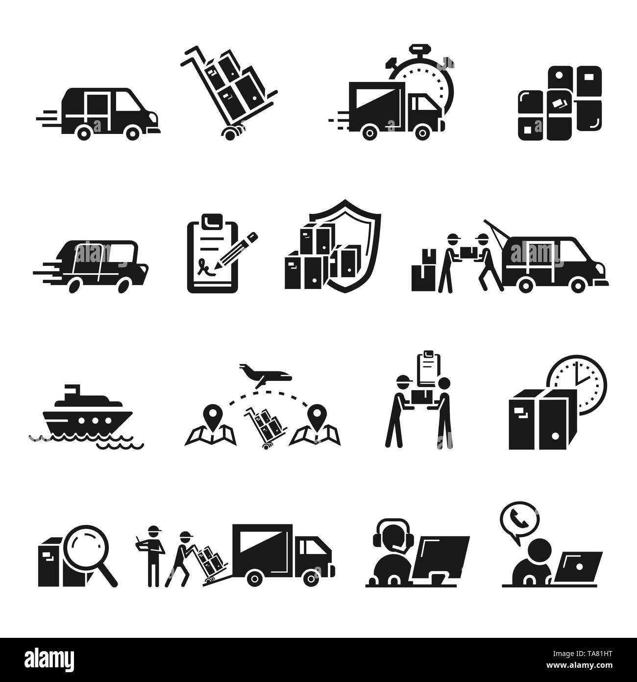 Parcel delivery icons set. Simple set of parcel delivery vector icons for web design on white background - Stock Image