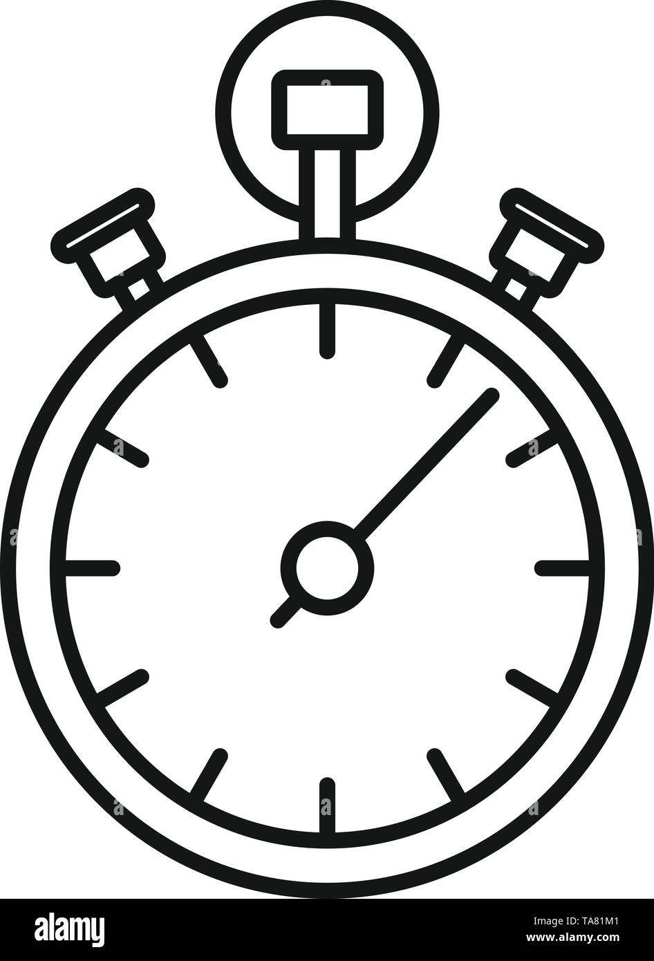 Stopwatch icon. Outline stopwatch vector icon for web design isolated on white background - Stock Image