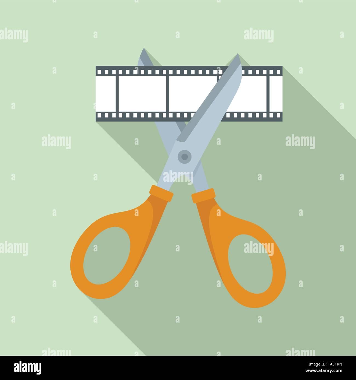 Scissors cut film icon. Flat illustration of scissors cut film vector icon for web design - Stock Image