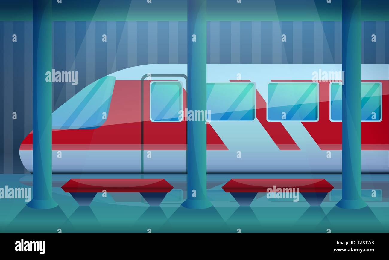 Railway station concept background. Cartoon illustration of railway station vvector concept background for web design - Stock Vector