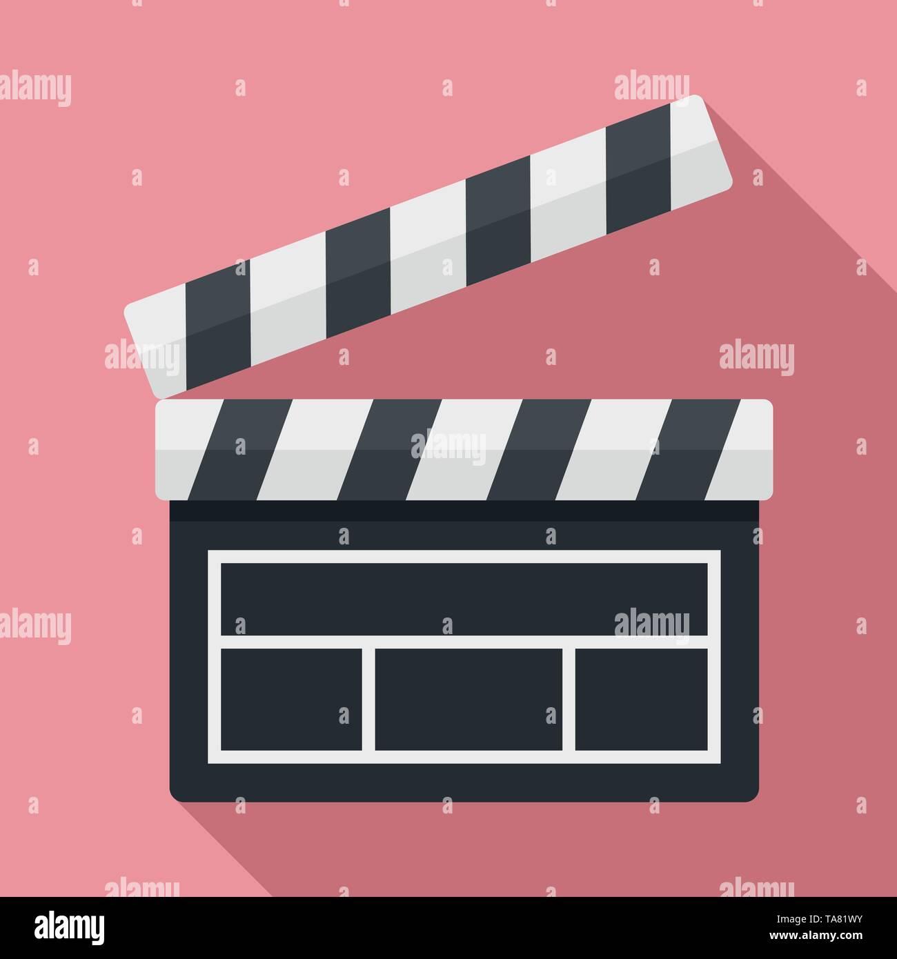 Film clapper icon. Flat illustration of film clapper vector icon for web design - Stock Image
