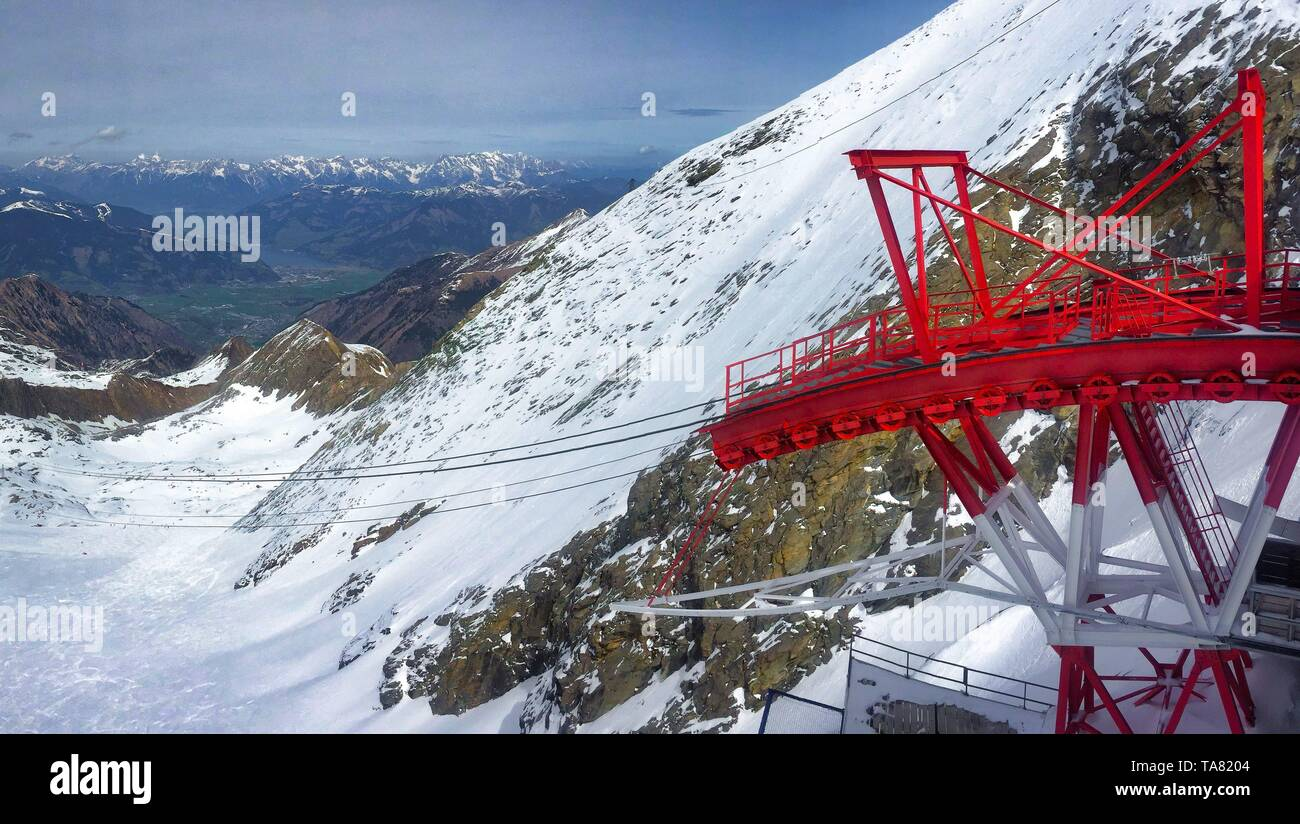 Lift in austrian ski resort in the Alps, Austria - Stock Image