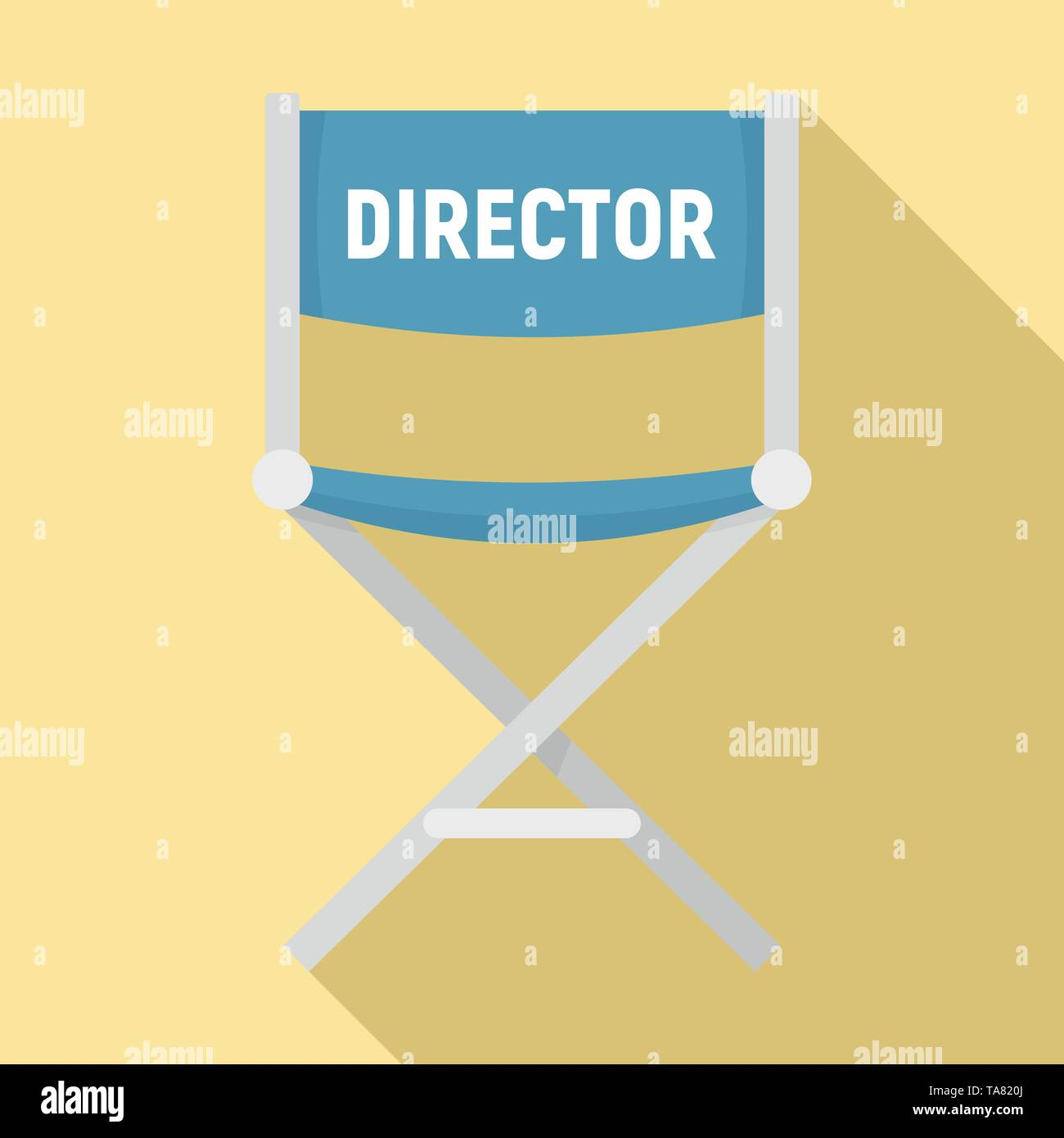 Film director chair icon. Flat illustration of film director chair vector icon for web design - Stock Image