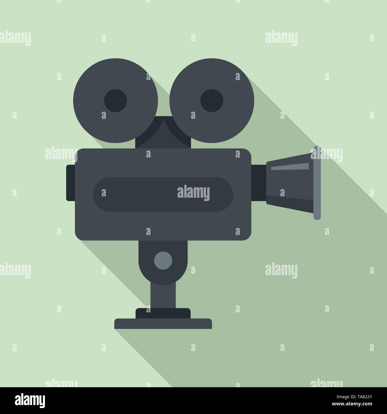 Cinema camera icon. Flat illustration of cinema camera vector icon for web design - Stock Image