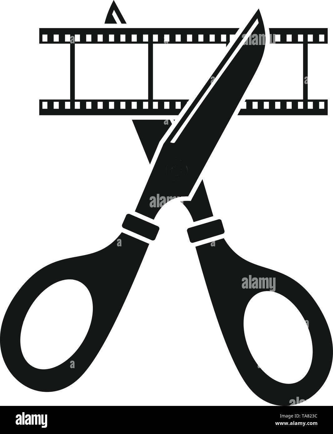 Scissors cut film icon. Simple illustration of scissors cut film vector icon for web design isolated on white background - Stock Image