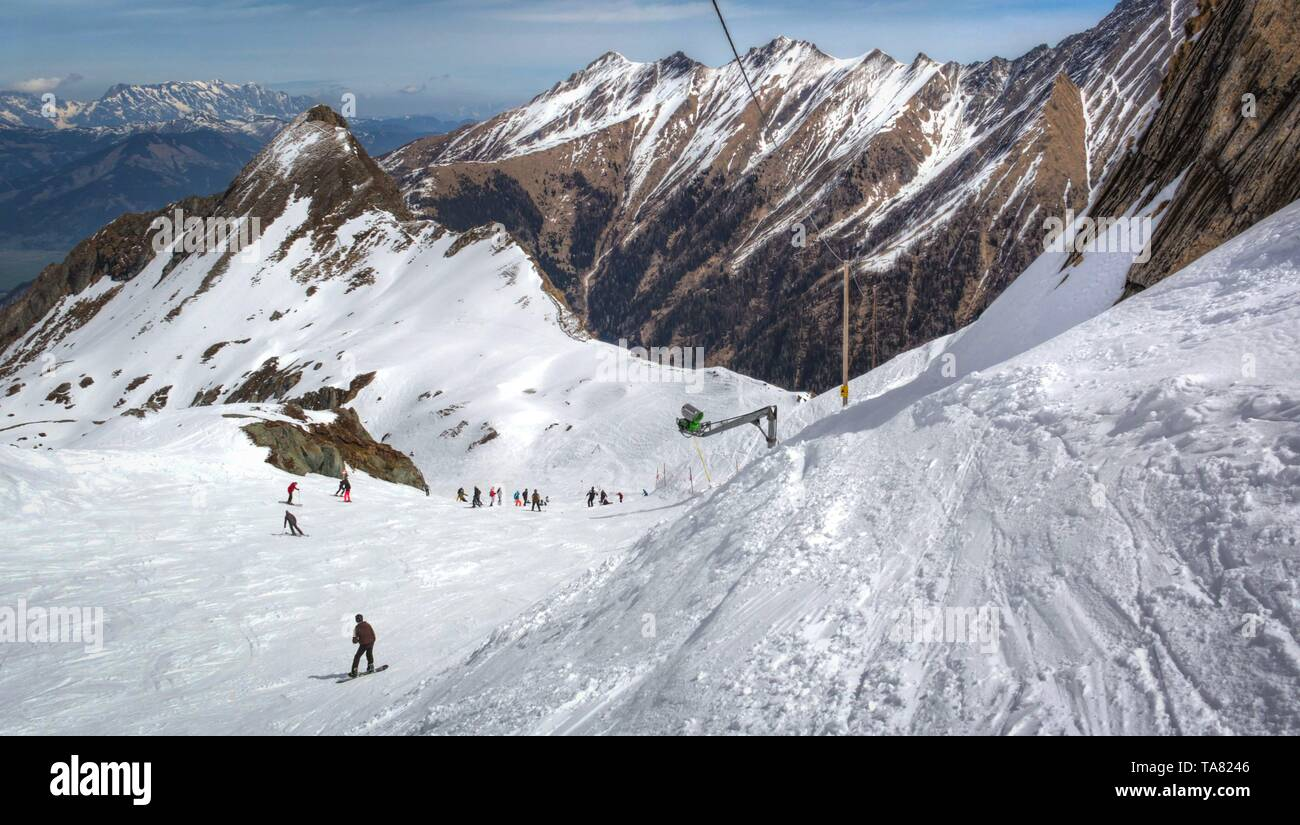 Overview of Austrian ski resort in the Alps of Austria - Stock Image