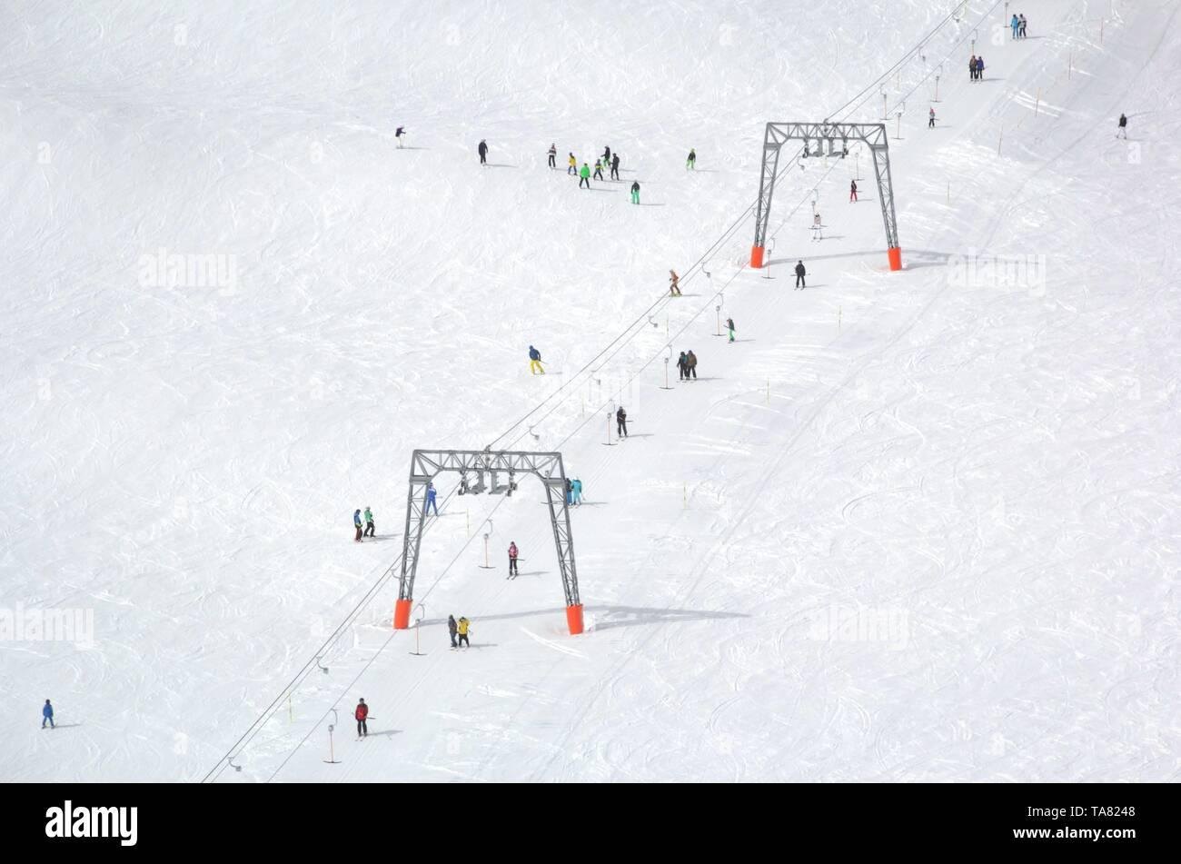 Overview of Austrian ski resort in the Alps of Austria - Stock Image
