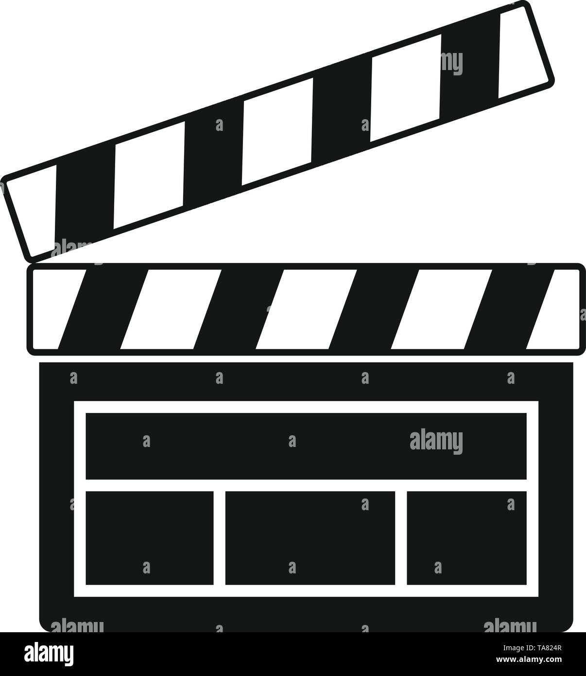 Film clapper icon. Simple illustration of film clapper vector icon for web design isolated on white background - Stock Image