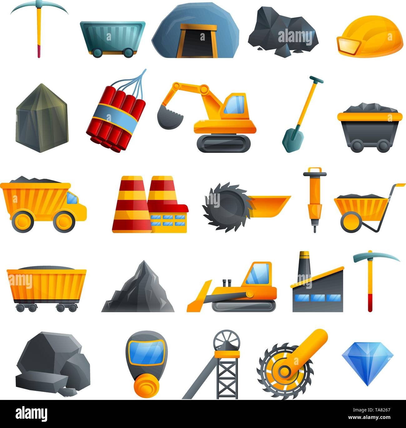 Coal industry icons set. Cartoon set of coal industry vector icons for web design - Stock Image