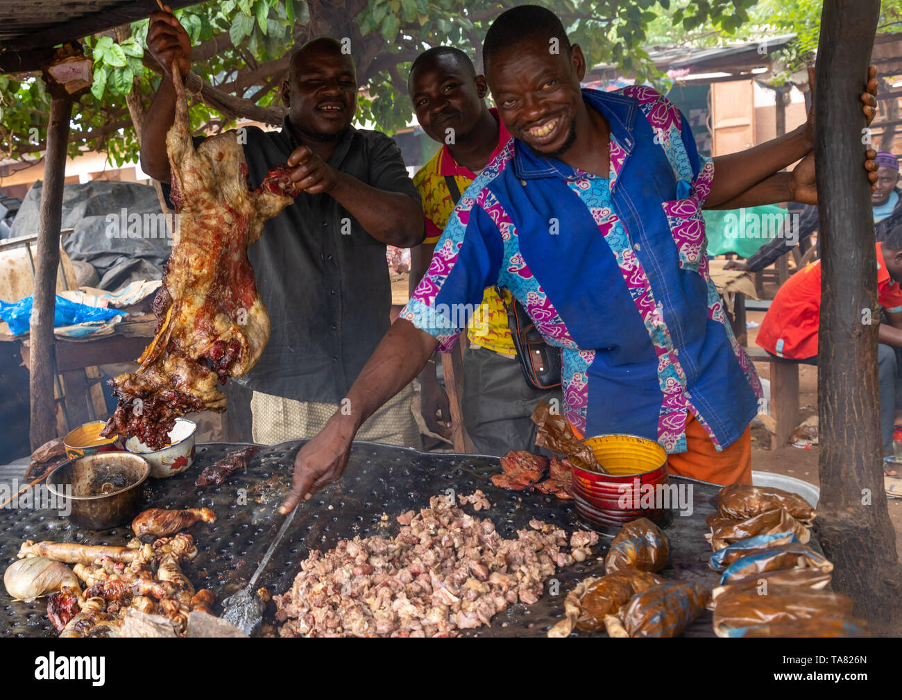 Grilled meat as street food, Savanes district, Kouto, Ivory Coast Stock Photo