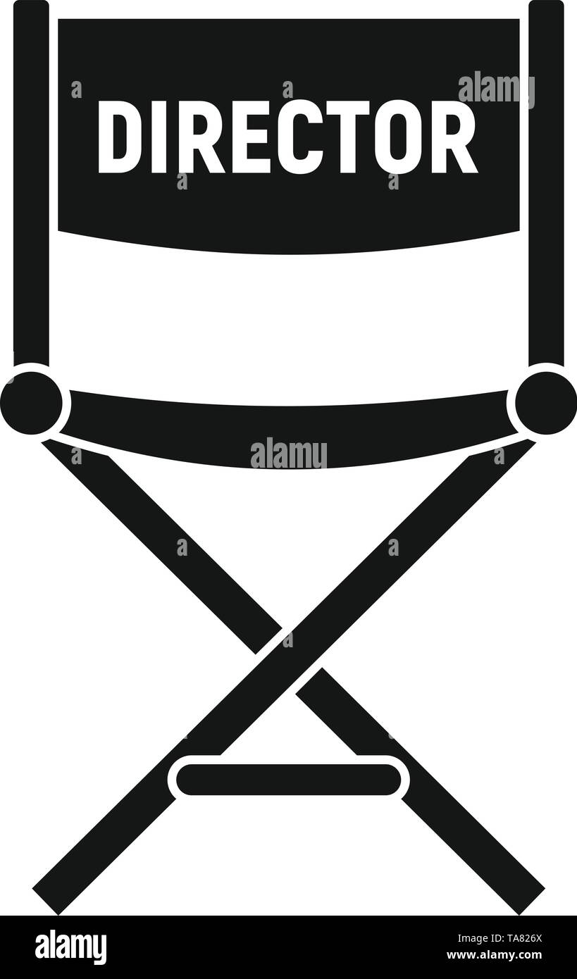 Film director chair icon. Simple illustration of film director chair vector icon for web design isolated on white background - Stock Image