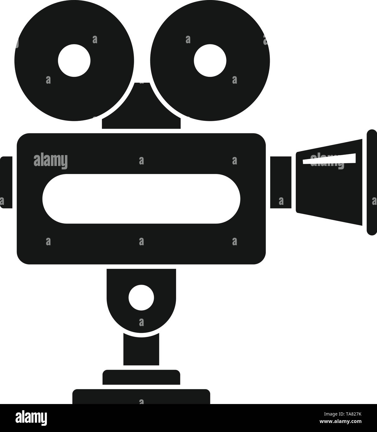Cinema camera icon. Simple illustration of cinema camera vector icon for web design isolated on white background - Stock Image