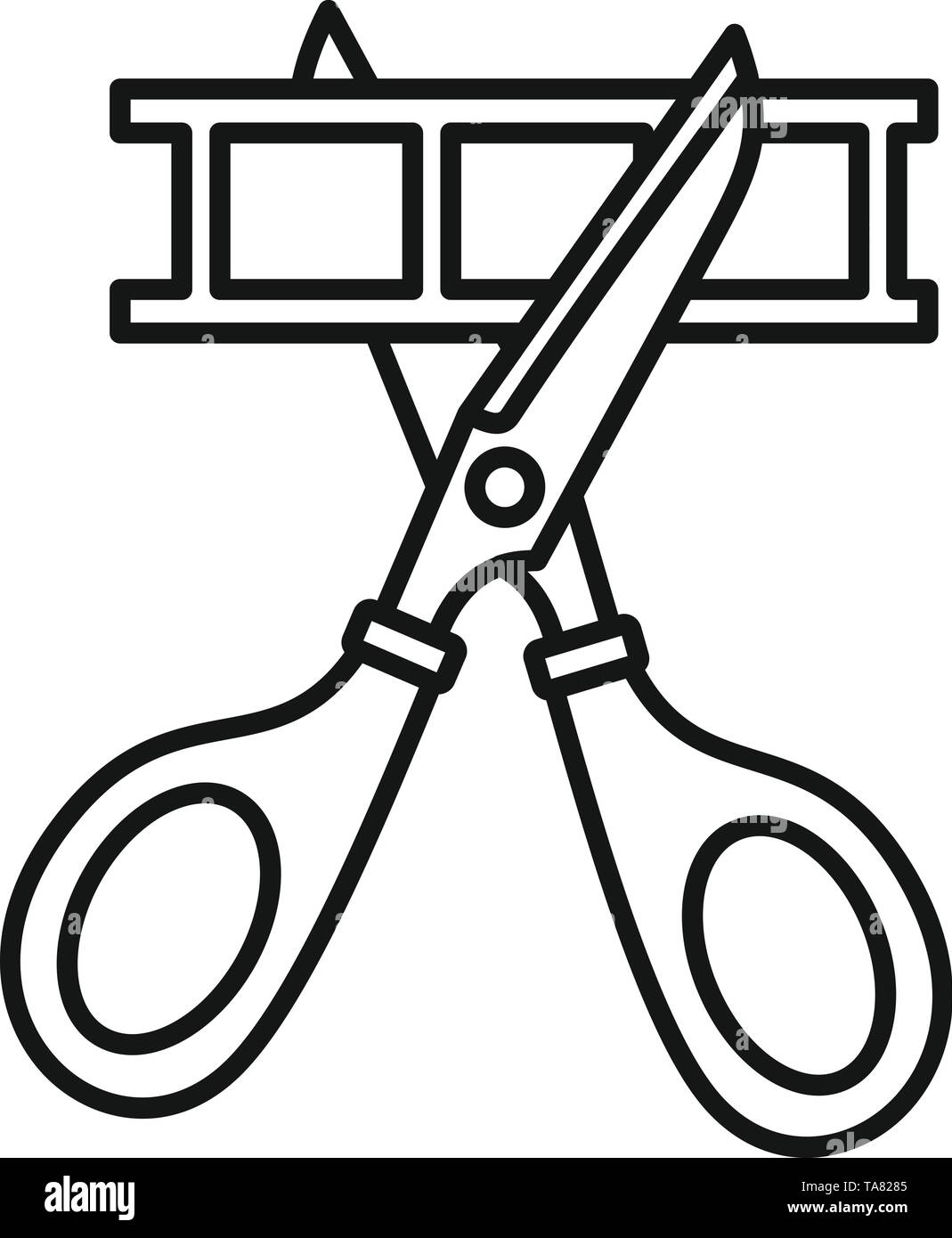 Scissors cut film icon. Outline scissors cut film vector icon for web design isolated on white background - Stock Image
