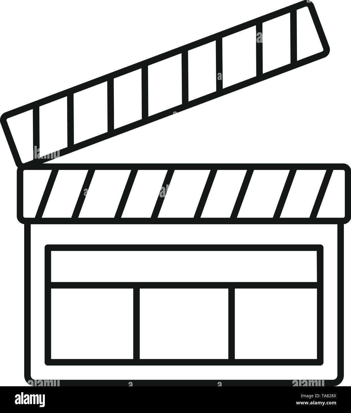 Film clapper icon. Outline film clapper vector icon for web design isolated on white background - Stock Image