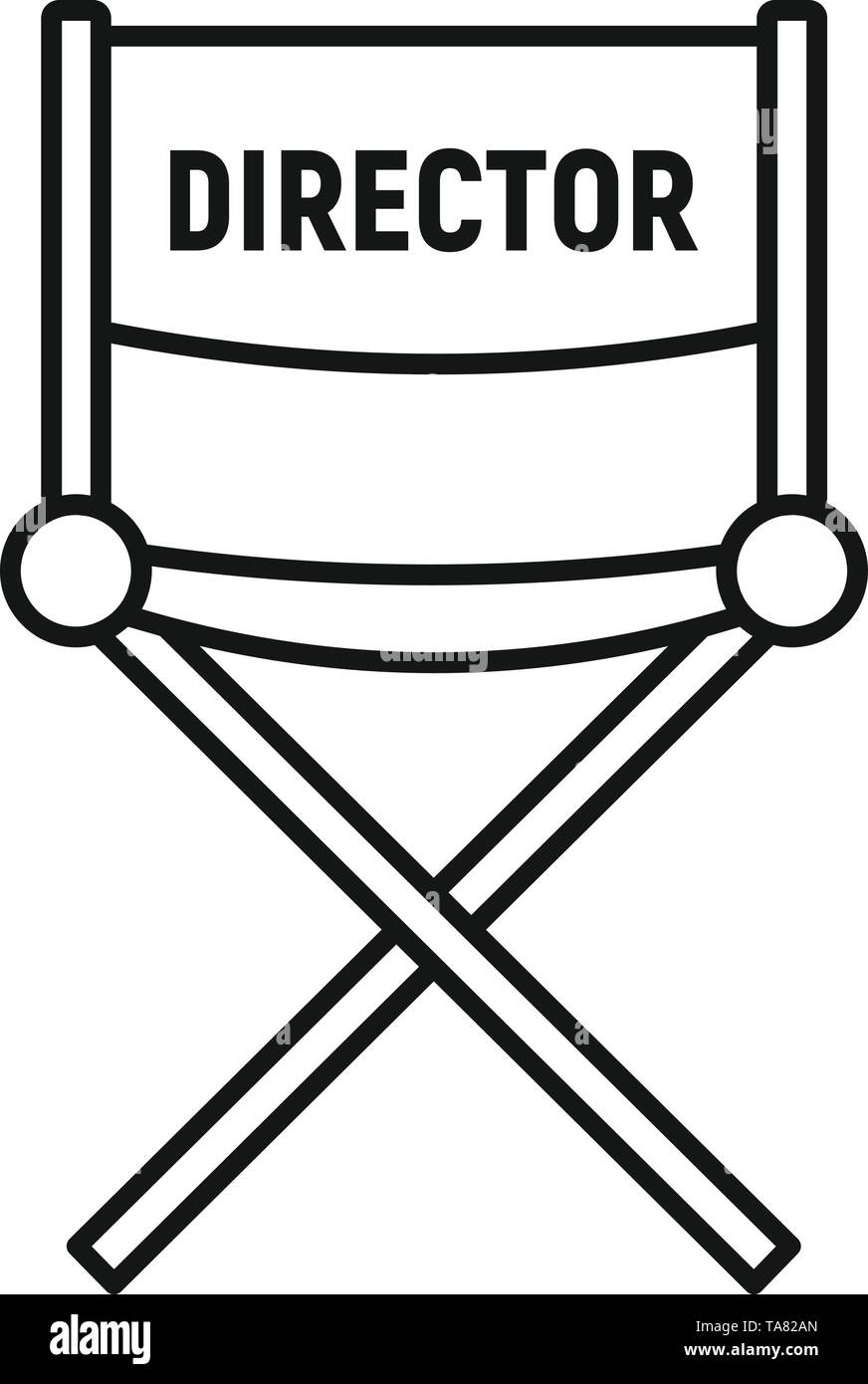 Film director chair icon. Outline film director chair vector icon for web design isolated on white background - Stock Image