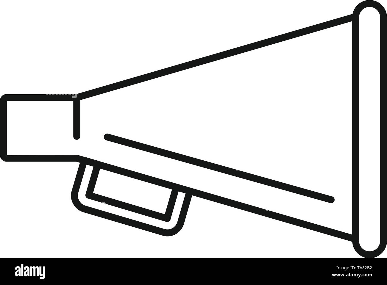 Cinema production hand speaker icon. Outline cinema production hand speaker vector icon for web design isolated on white background - Stock Image
