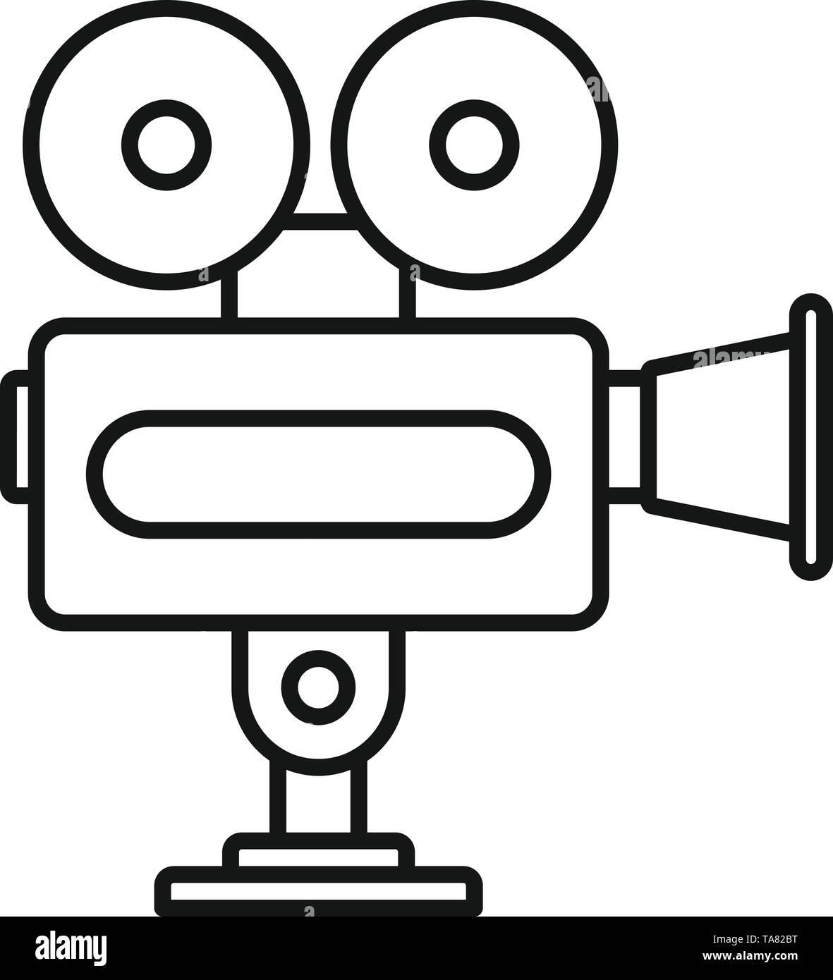 Cinema camera icon. Outline cinema camera vector icon for web design isolated on white background - Stock Image