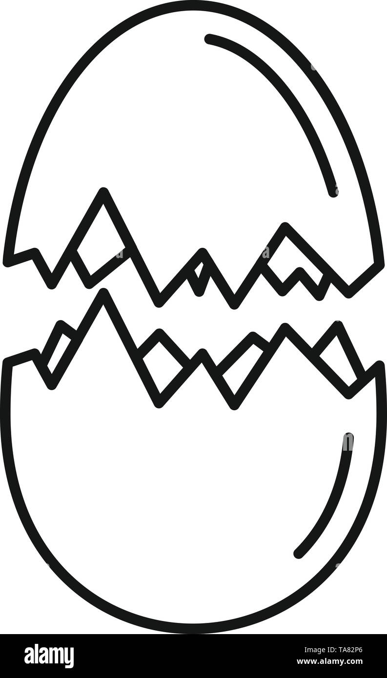 Eggshell icon. Outline eggshell vector icon for web design isolated on white background - Stock Image