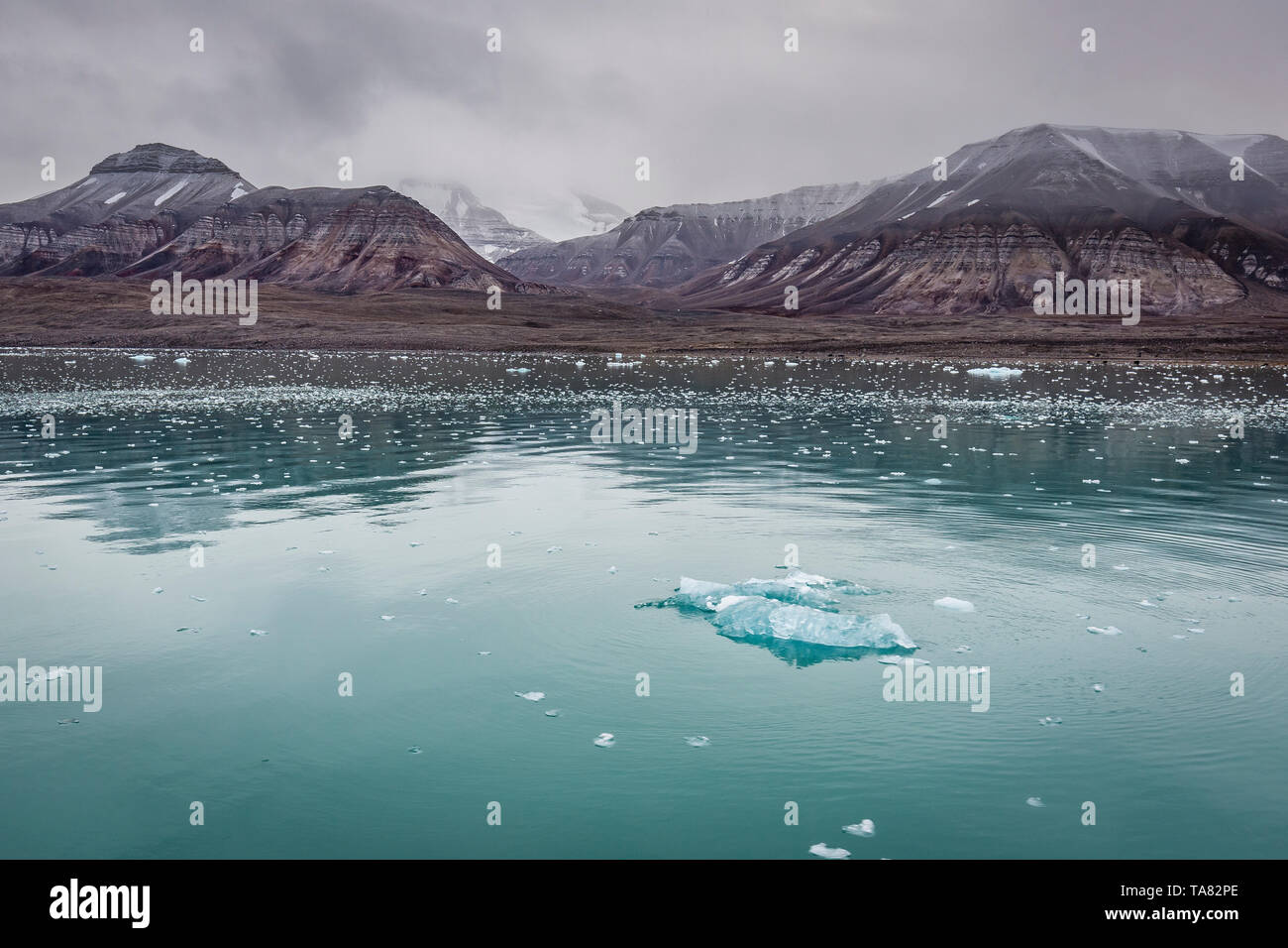 Pieces of glacier ice Nordenskiöldbreen near Pyramiden, snowcaped mountain, on the coast of Billefjord, Svalbard. Norway - Stock Image