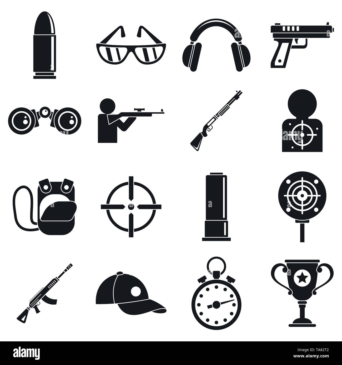 Shooting sport icons set. Simple set of shooting sport vector icons for web design on white background Stock Vector