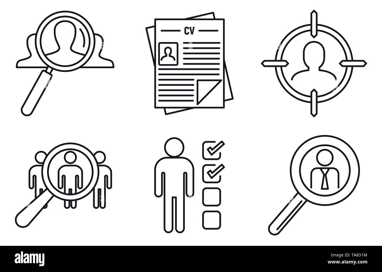 Recruitment expert icons set. Outline set of recruitment expert vector icons for web design isolated on white background - Stock Image