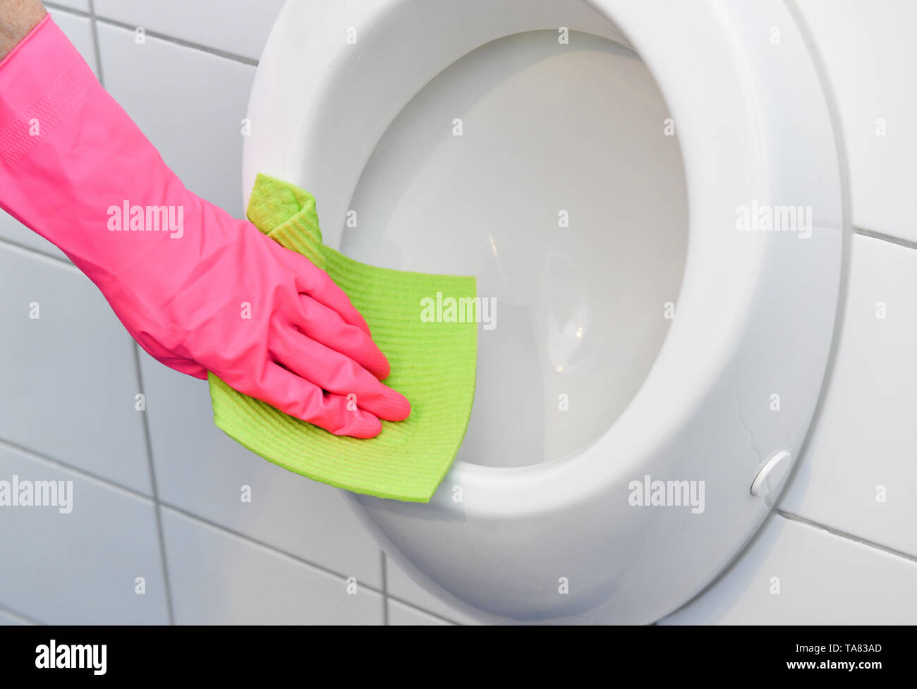 Cleaning, bathroom, Urinal, Reinigung, Badezimmer Stock Photo