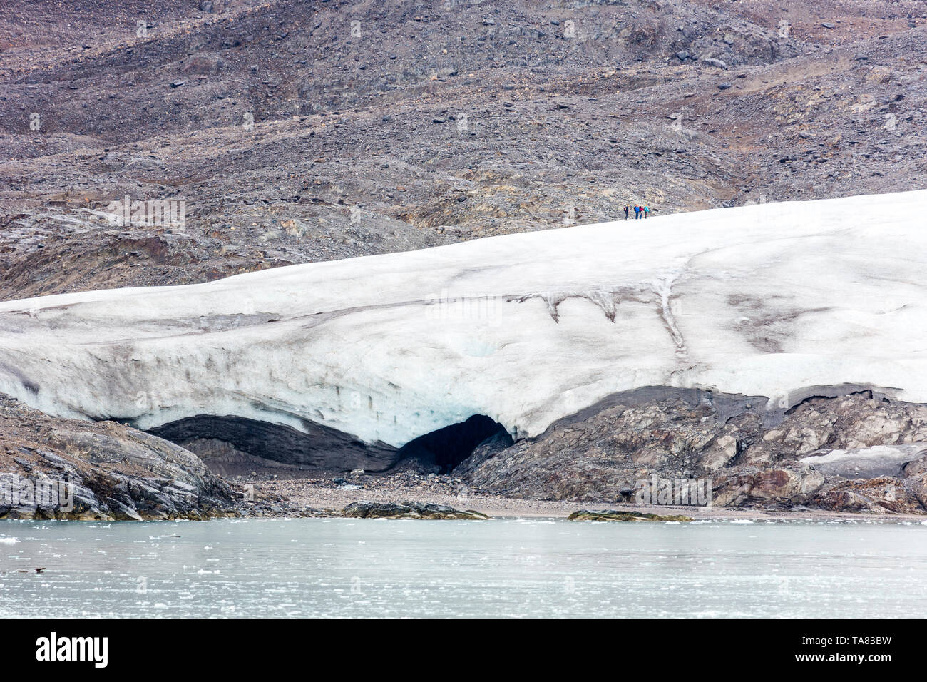 A group of hikers on Top of the glacier Nordenskiöldbreen near Pyramiden, on the coast of Billefjord, Svalbard. Norway - Stock Image