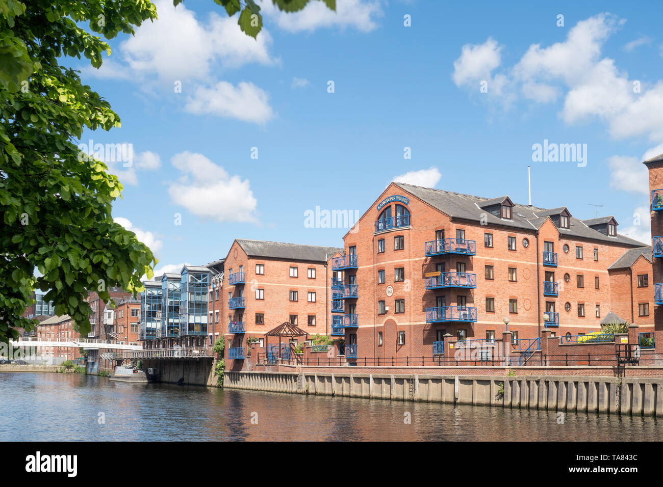 Langtons Wharf residential waterfront development on the river Aire in Leeds, Yorkshire, England, UK - Stock Image