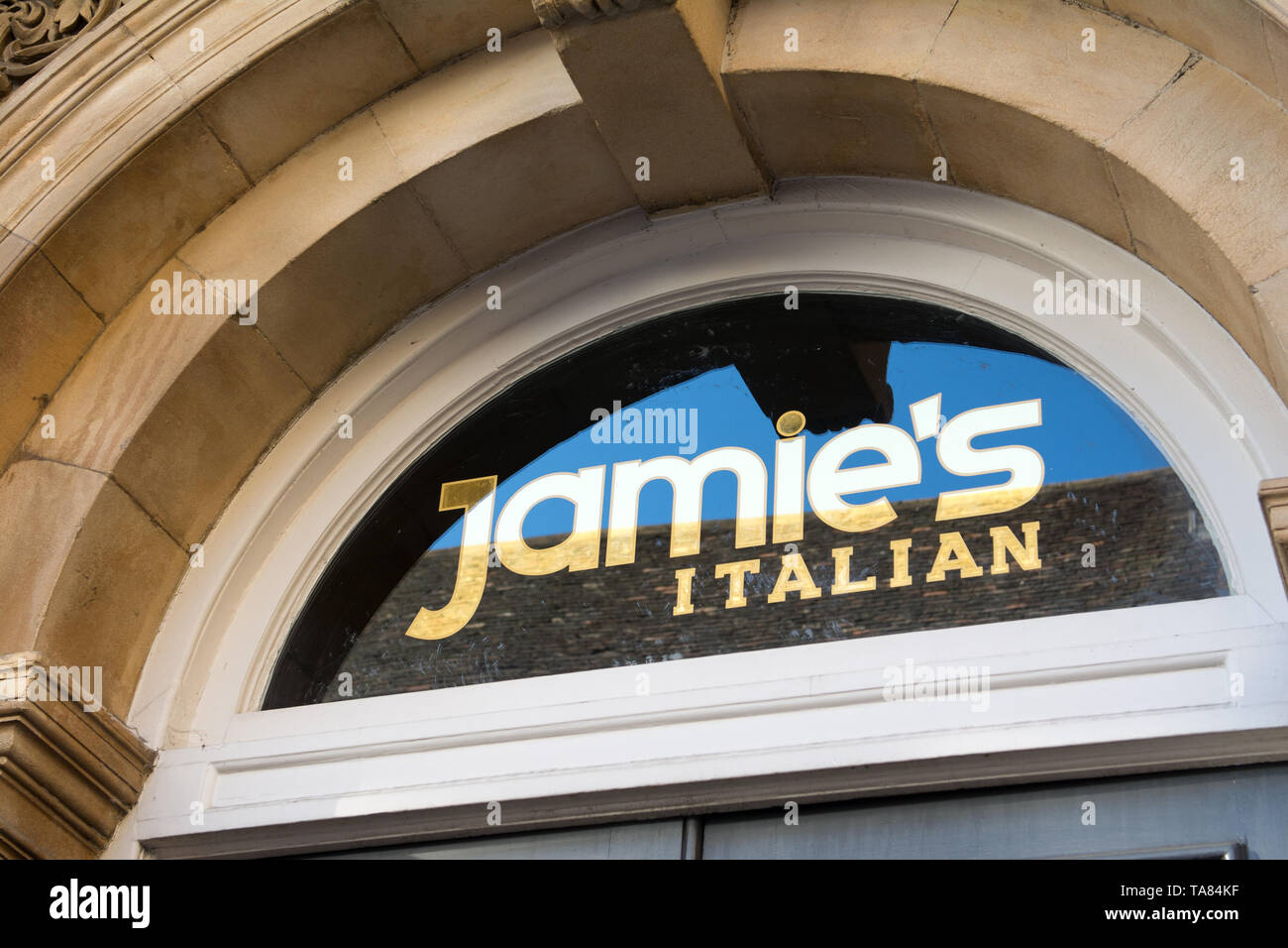 Cambridge Uk, 2019-05-22, Jamie's Italian reastaurant in Cambridge is one of 22 to be closed, All but three of Jamie Oliver's 25 UK restaurants have closed, with the loss of 1,000 jobs, after the business called in administrators. The lights are left on but the doors are firmly locked, in the windows are printed signs as to who the administrators are for further information - Stock Image