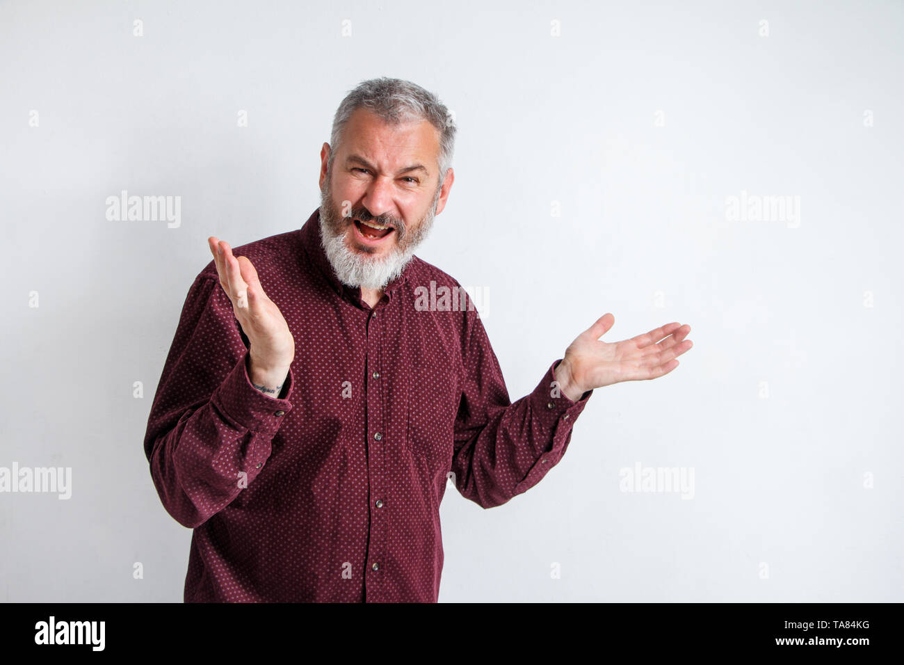 Closeup portrait of angry upset gray bearded man, worker, employee, business man hands in air, open mouth yelling isolated on white background. Negati - Stock Image