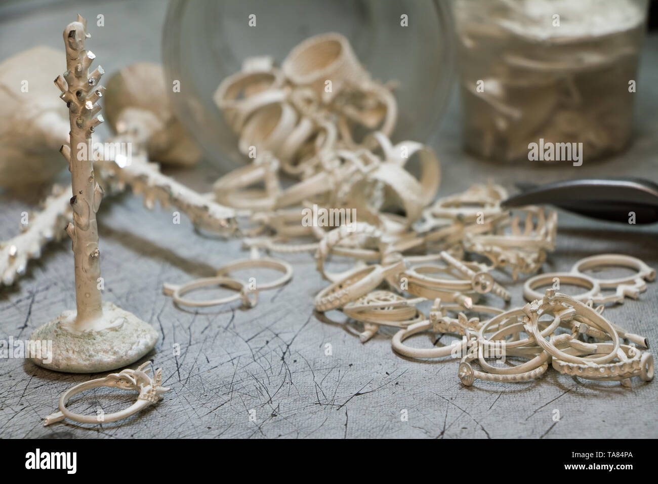 Preparation for smelting silver jewelry in a workshop for the manual production of jewelry, closeup - Stock Image