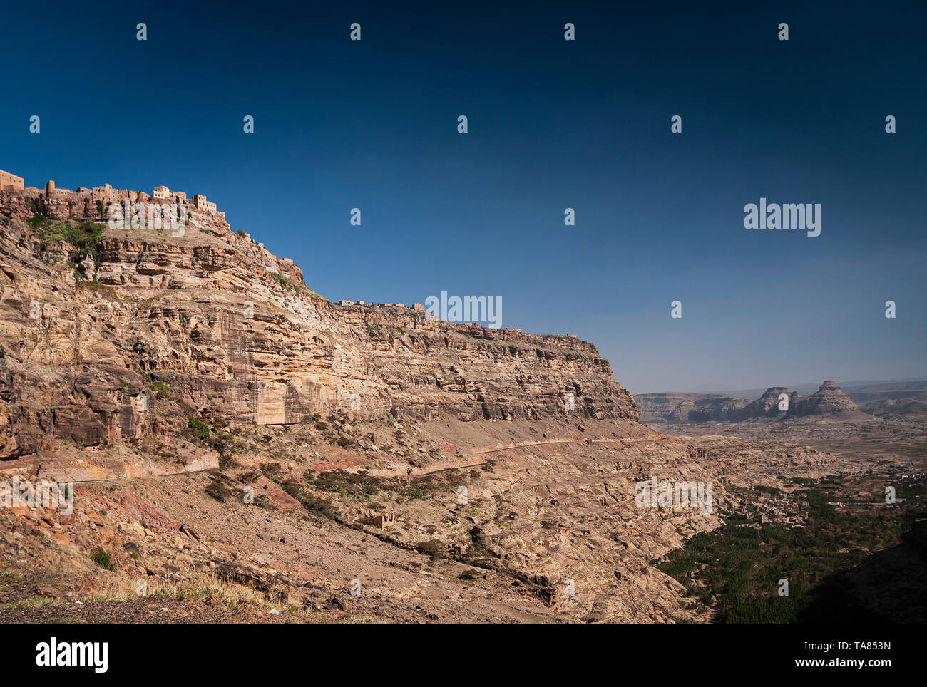 kawkaban ancient traditional architecture hilltop village in haraz mountains of yemen - Stock Image