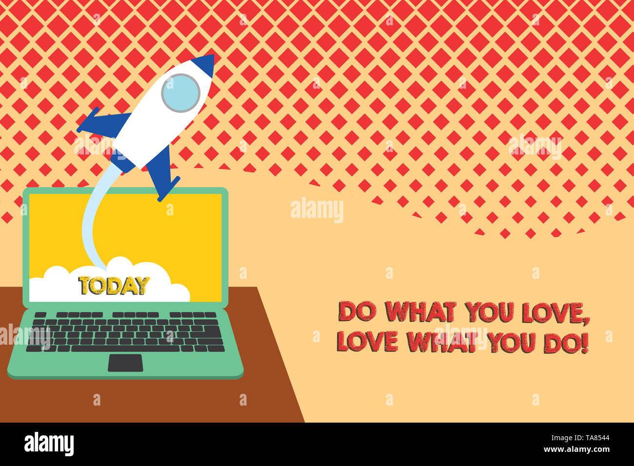 Conceptual hand writing showing Do What You Love Love What You Do. Concept meaning you able doing stuff you enjoy it to work in better places then Suc - Stock Image