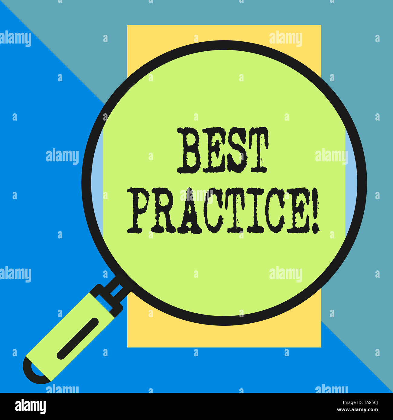 Handwriting text Best Practice. Conceptual photo commercial procedures that are accepted prescribed being correct Big magnifier glass looking vertical - Stock Image