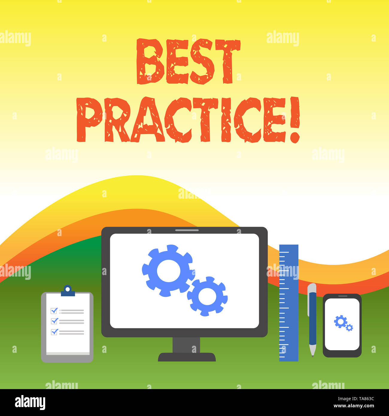 Text sign showing Best Practice. Business photo text commercial procedures that are accepted prescribed being correct Business Concept PC Monitor Mobi - Stock Image