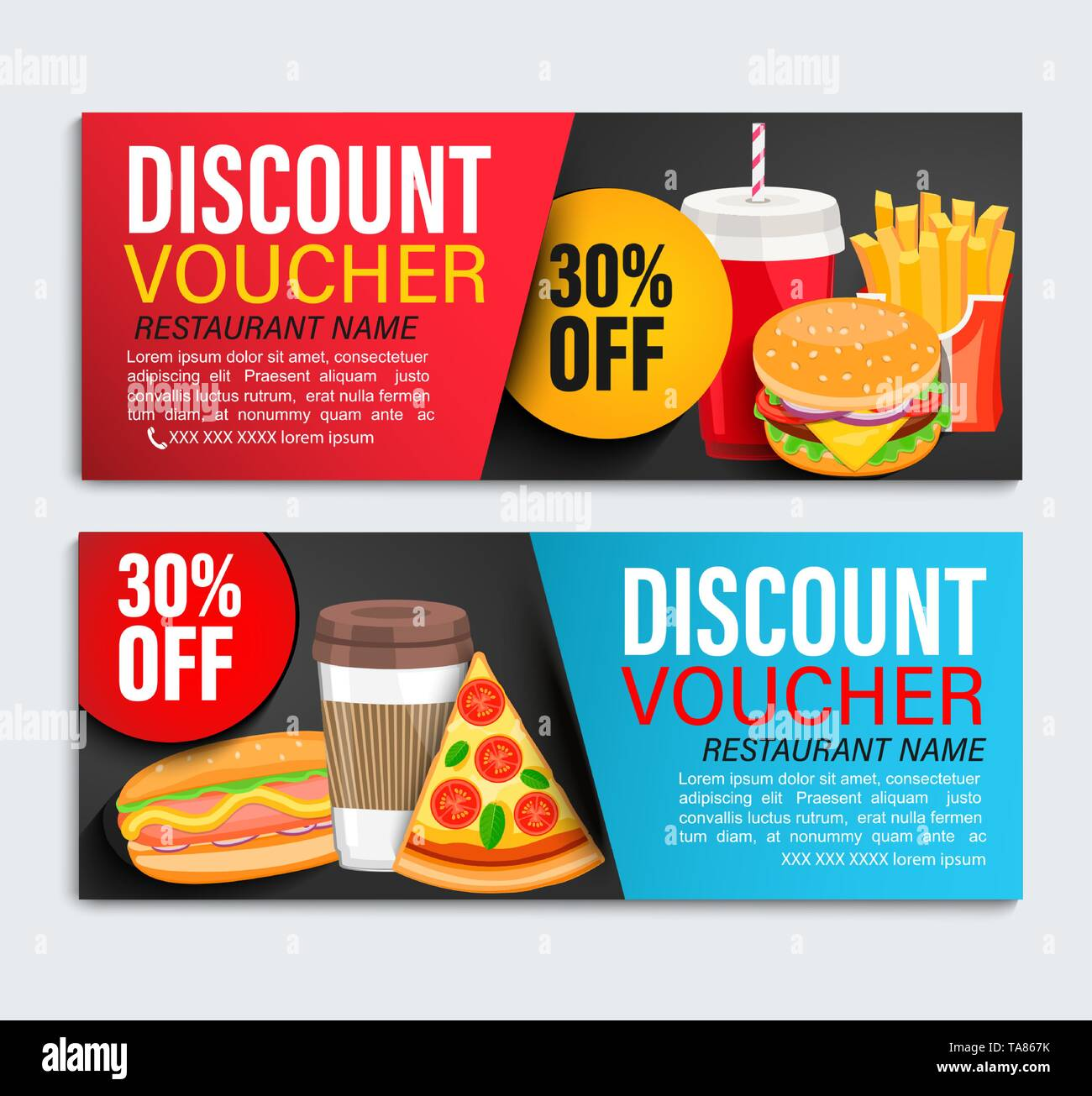 Set od Discount gift vouchers. - Stock Image