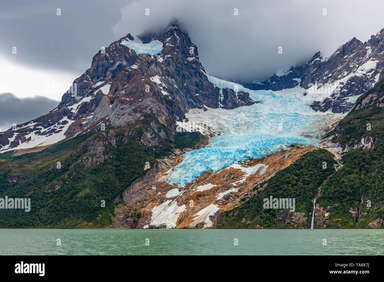 Balmaceda peak and glacier, Last Hope Sound or Fjord, Bernardo O'Higgins national park between Puerto Natales and Torres del Paine, Patagonia, Chile. - Stock Image