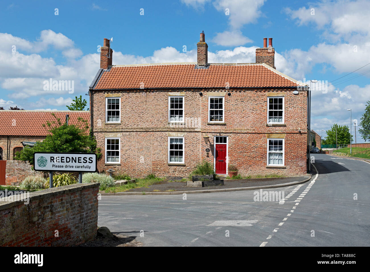 The village of Reedness, one of the Marshland villages, East Yorkshire, England UK - Stock Image