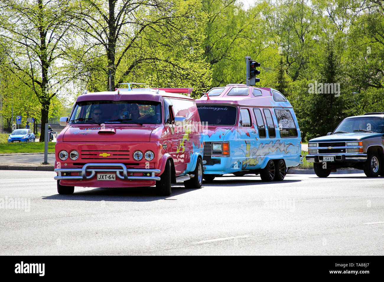 Salo, Finland. May 18, 2019. Colorful Chevy van Bartvan with customised van converted into a caravan arrives to Salon Maisema Cruising 2019. - Stock Image