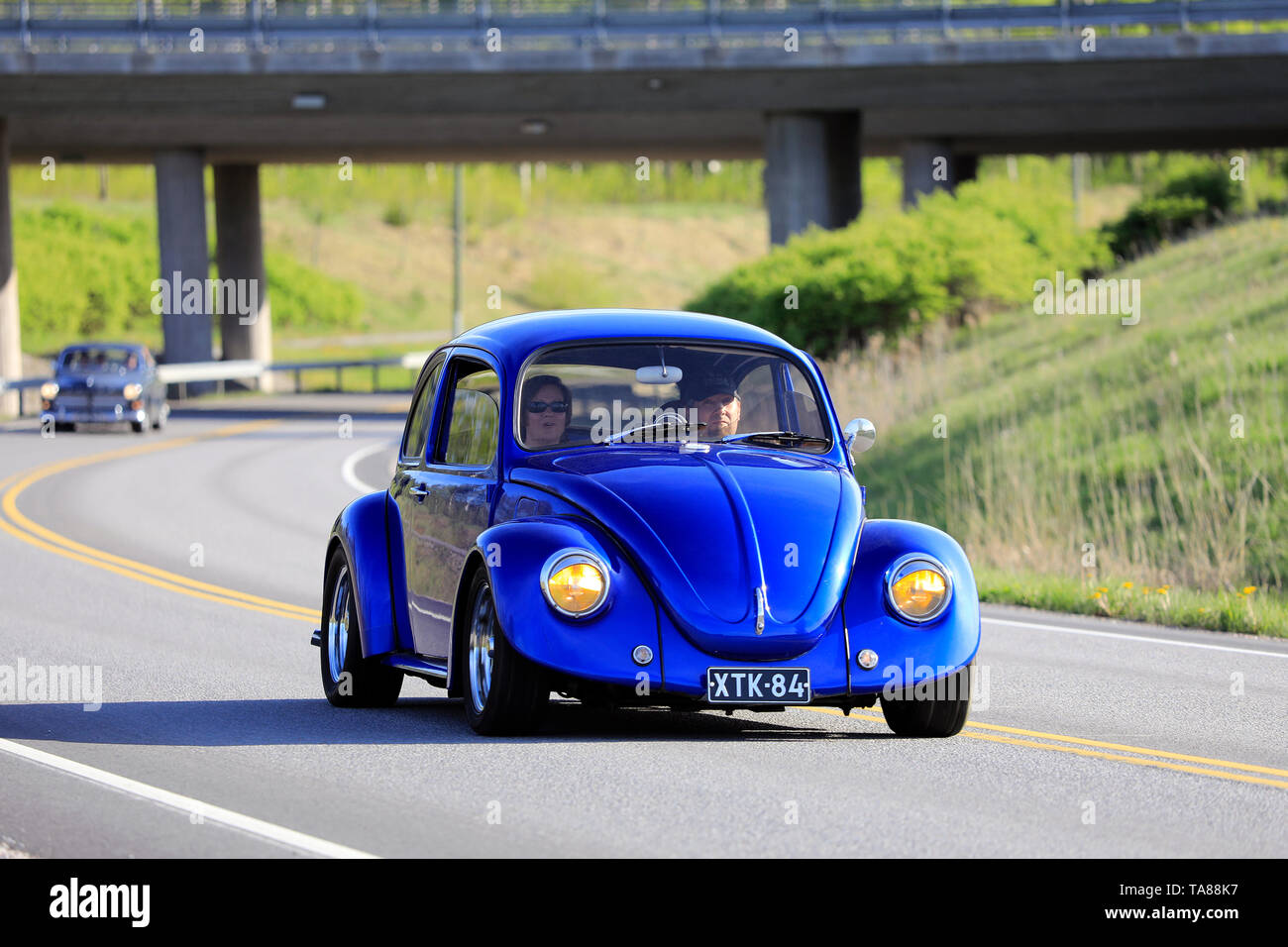 Salo, Finland. May 18, 2019. Classic royal blue 1970s Volkswagen Beetle, or Type 1 on road on the popular annual event Salon Maisema Cruising 2019. - Stock Image
