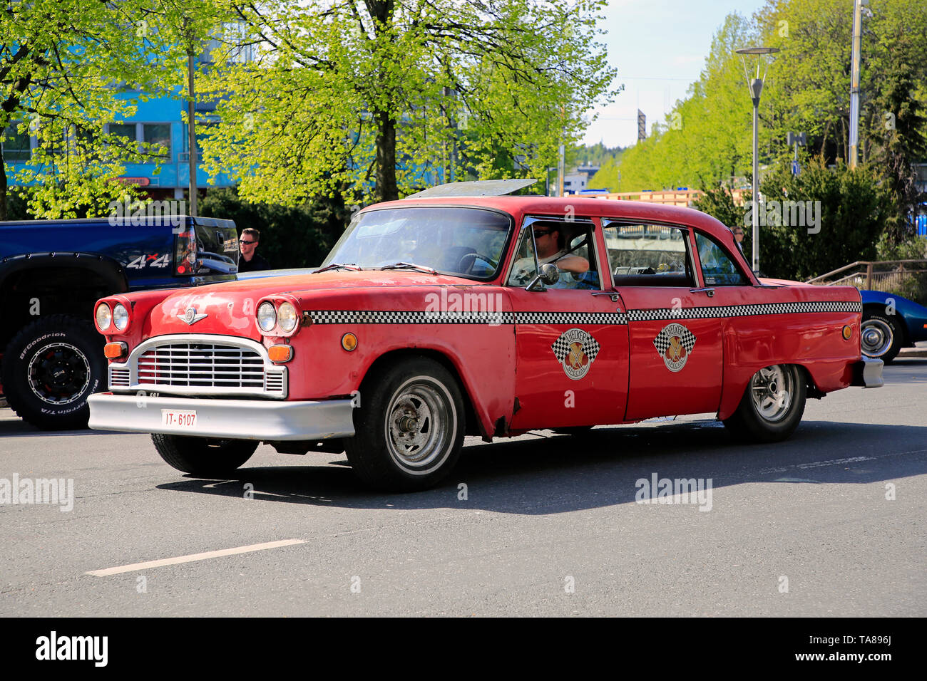 Salo, Finland. May 18, 2019. Red Checker Model A Taxi takes part in Salon Maisema Cruising 2019. - Stock Image