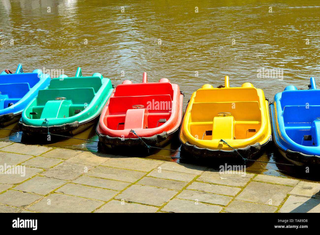Pedal boats on the River Dee in Chester City centre - Stock Image