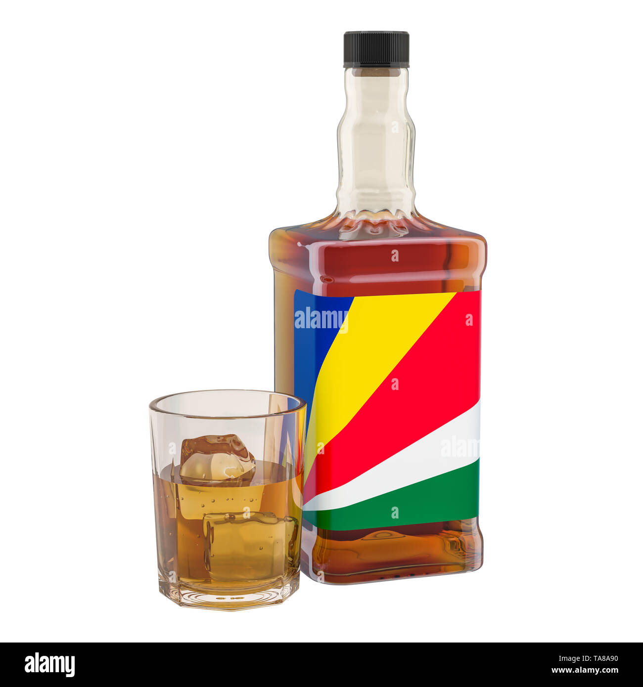 Production and consumption of alcohol drinks in Seychelles, concept. 3D rendering isolated on white background - Stock Image